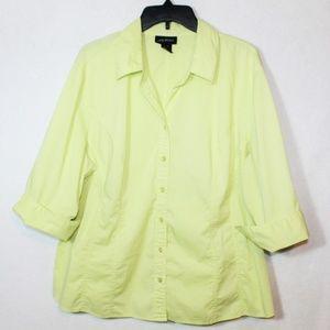 Lane Bryant button down slimming stretchy blouse